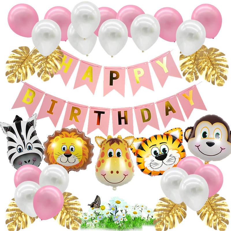 Jungle Verjaardag Versiering Roze Decoratie Meisje Babydouche