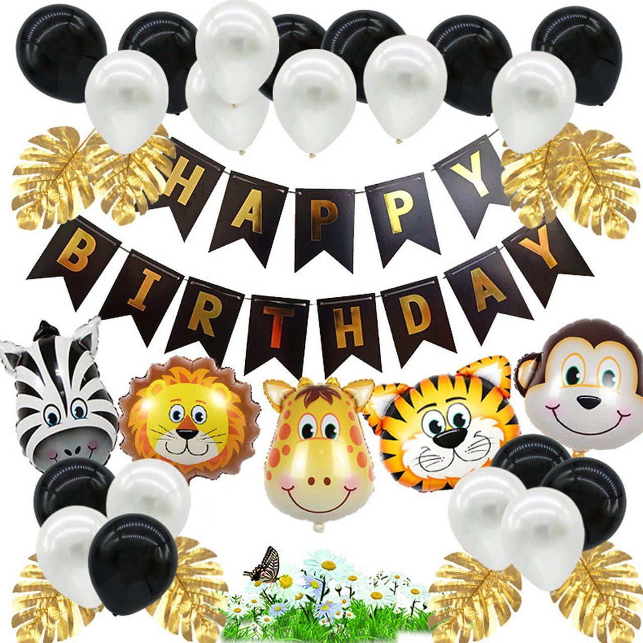 Jungle Versiering Verjaardag Decoratie Zwart Babydouche