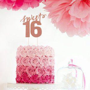 Sweet 16 taart topper