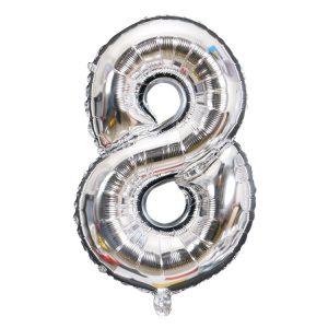 Cijfer ballon zilver 8