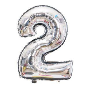 Cijfer ballon 2 zilver