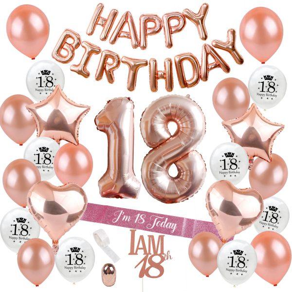 Verjaardag versiering 18 jaar rose goud
